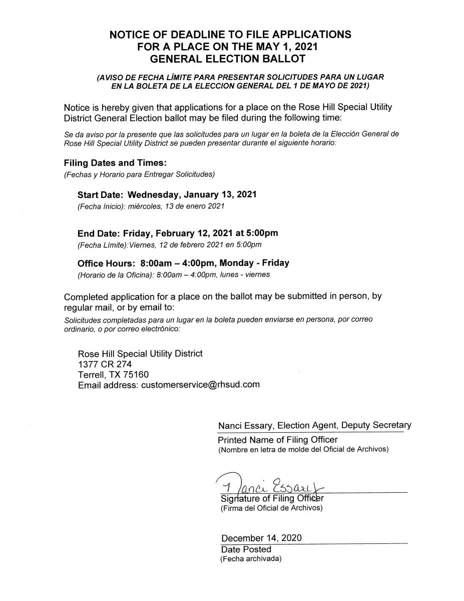 Notice of Deadline to File Applications for Place on the Ballot